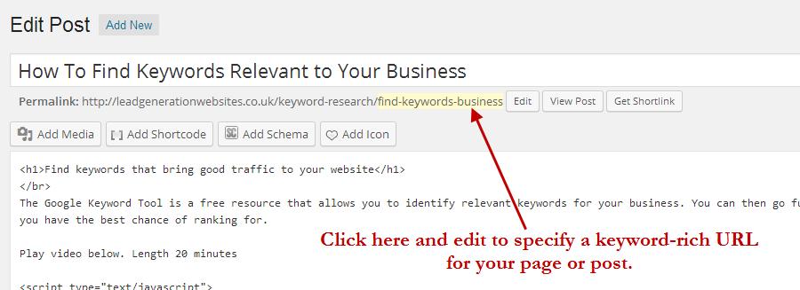 add keywords to URL in WordPress